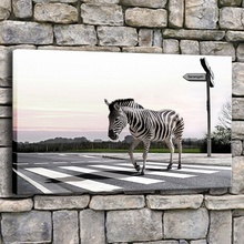Bedroom Wall Decor 1 Piece Framework Or Frameless Canvas Painting Modern Print Zebra Crossing Road Lines Unique Animal Poster