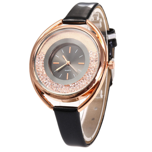 Fashion Women Quartz Watch Quicksand Design Leather Band Analog Alloy Wrist Watc