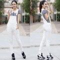 O Envio gratuito de 2016 de Moda Branco Calças Jumpsuit E Romper Para As Mulheres Denim Calças Jardineiras Calças Calças Lápis Skinny Jeans XS-XL