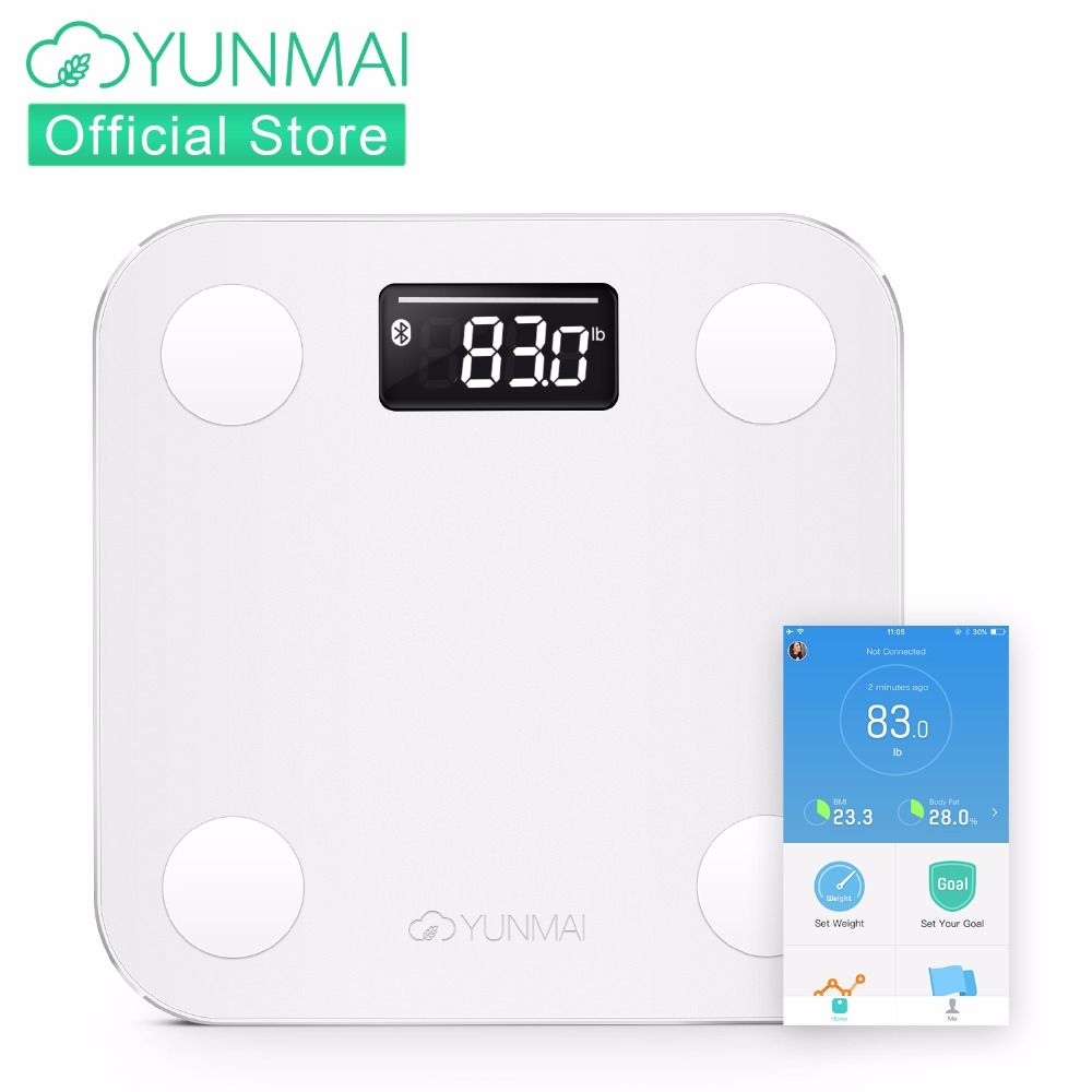 YUNMAI мини весы напольные Bluetooth жира монитор с светодиодный Дисплей, смарт-весы с бесплатной iOS и Android App