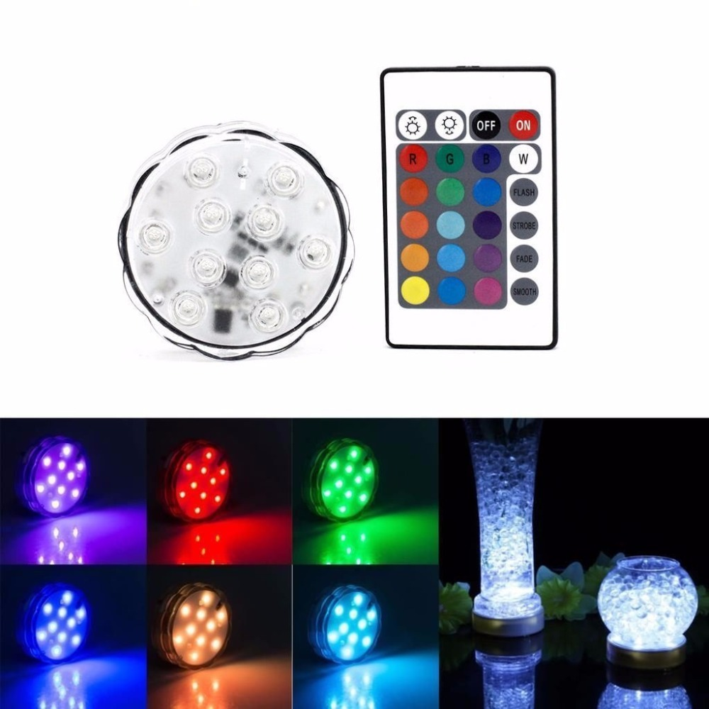 4pcs 10leds RGB LED Underwater Light IP67 Waterproof Swimming Pool Light LED Submersible for Party Piscina Pond + Remote Control