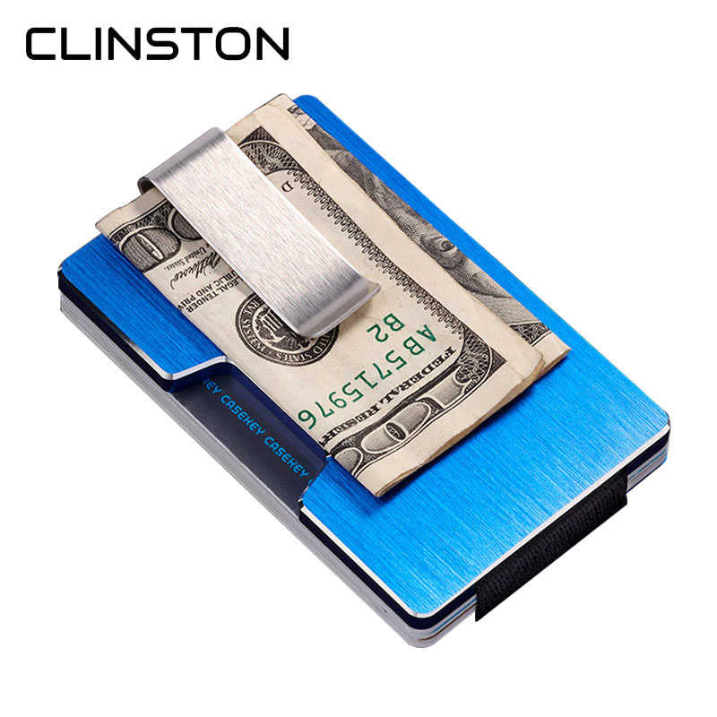 RFID 2018 New Aluminum Mini Card Holder Wallet Antimagnetic Metal Men Credit ID Card Case Small Slim Purse with Dollar Clip