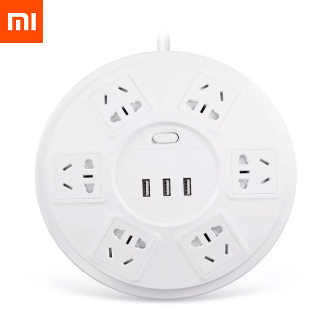 New Xiaomi TP Lightning Protection Power Strip 6 Ports With 3 USB 2500W 10A Fast Charge 2.1A USB Surge Protect Power Plug Charge