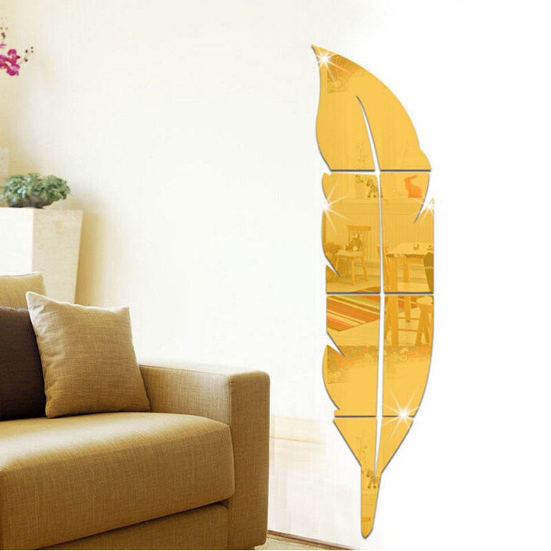 DIY Modern Plume Feather Style Acrylic Mirror Wall Stickers Room Decoration CIMY