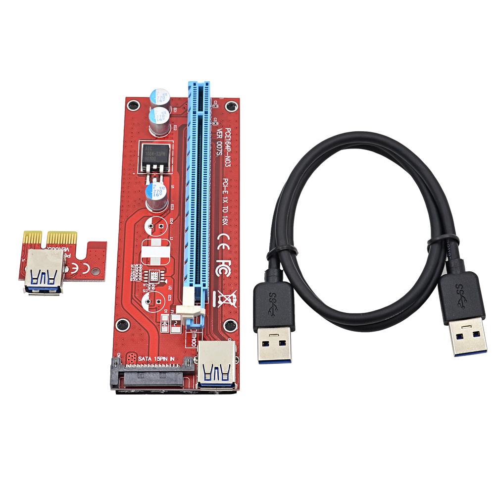Prix pour 50 Ensembles Rouge 60 M PCI-E 1X à 16X Riser Card Extender PCI Express adaptateur + USB 3.0 Câble/15Pin SATA Molex Alimentation Interface