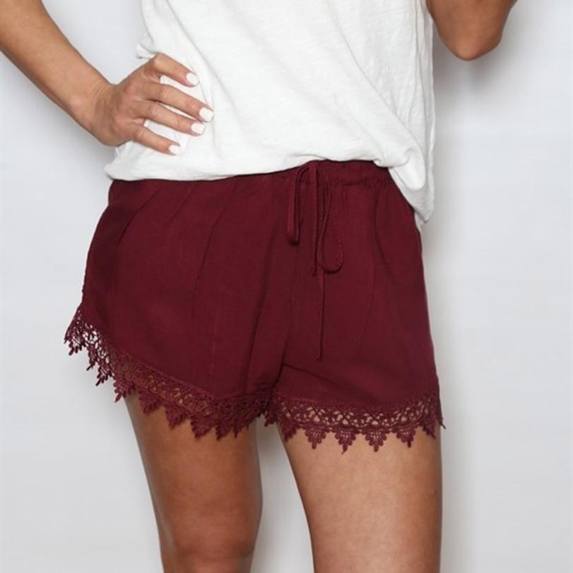 Casual Shorts Mid Waist Wide Leg Womens summer Hot Elastic Waist Hot Shorts Pure Lace Spliced trousers pantalones for women 30P