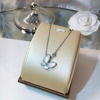 Fashion designer white shell butterfly necklace ,luxury brand jewelry rose gold silver zircon charm Choker Women Jewelry Collier