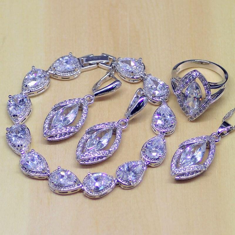 Hilfreich Klassische Geometrische Weiß Zirkonia 925 Sterling Silber Schmuck Sets Für Frauen Ohrringe/anhänger/halskette/ringe/armband Hochzeits- & Verlobungs-schmuck