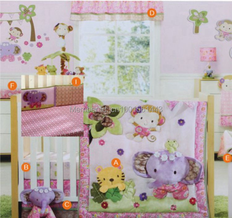 Chinese Hy Monkey And Elephant Cute Baby Crib Bedding Set 4pcs Cot Embroidered Quilt Per Piilow In Sets From Mother
