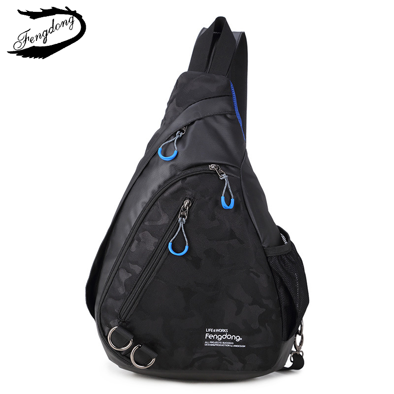 цена на Fengdong 2017 New Men Backpack Fashion Leisure Men Chest Bag Camouflage Printed Chest Bag Chest Pack Backpack For Men
