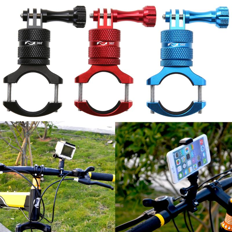 360 Degree Universal Aluminium Alloy Bicycle Phone Holder Handlebar Mount Motorcycle Handlebar Mount Holder Clamp For Gopro universal mount adapter cycling bicycle handlebar mount clamp holder aluminum alloy flashlight laser torch sight scope clamps
