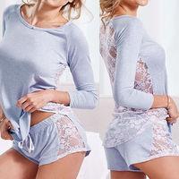 Womens Casual Loose Long Sleeve Lace Blouse Tops Hot Sexy Short Pants 2Pcs Sleepwear Pajamas Set