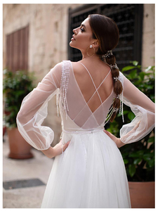 Image 2 - LORIE Beach Wedding Dress Lace Appliques New Design Vestidos de novia Puff Sleeves Bridal Dress floor Length Wedding Gowns