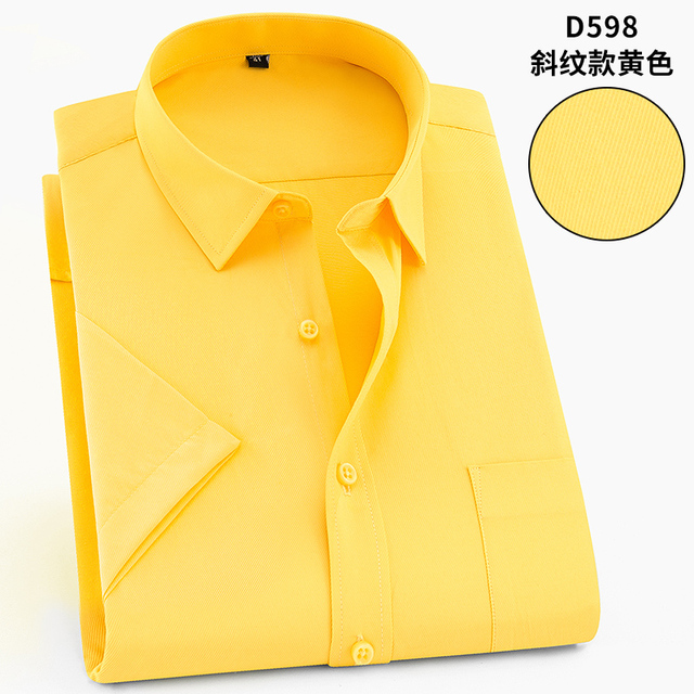 Plus tamanho 5xl 6xl 7xl 8xl casual fácil cuidado listrado sarja manga curta homem negócios formal camisa amarelo verde 110 kg 120 kg 130 kg