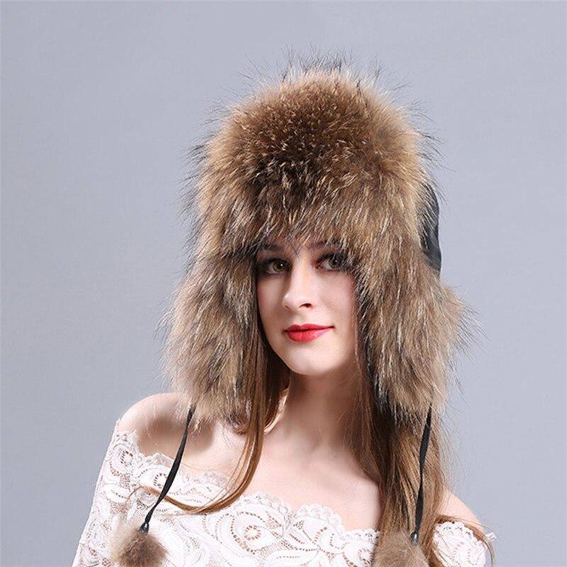 4994d268dbfab Hot Sale 100% Real Fox Fur Womens Russian Aviator Trapper Snow Skiing Hat  Caps Earflap Winter ...