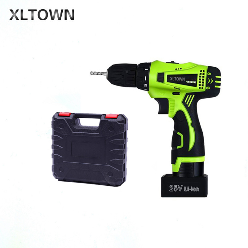 Xltown the new 25v two-speed rechargeable lithium battery electric screwdriver with Plastic box packaging Electric screwdriver xltown 25v two speed 2 battery lithium battery electric screwdriver with a plastic box packaging 27pcs drill bit electric drill