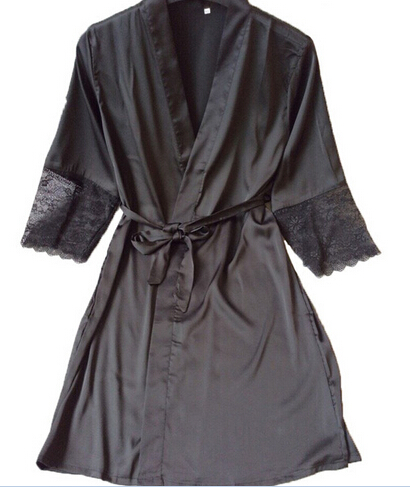 Mid-sleeve Sexy Women Nightwear Robes Plus Size M L XL XXL Lace Real Silk Female Bathrobes Free Shipping 2015 Vs Brand Hot
