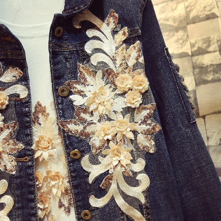 1072 Veste Broderie Lace 2018 Femmes Streetwear Mode Manteau Jean De Outwear Floral Bleu Denim Automne Y Rw8q4Y6
