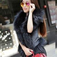 FREE SHIPPING 2016 New Women Spring Black Leather Vest Genuine Sheepskin Racoon Fur Collar Fashion Short Slim Fit Women Coat