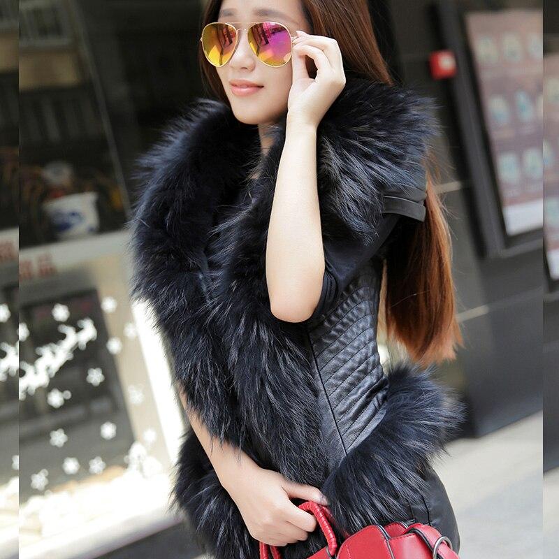 IL TRASPORTO LIBERO 2016 Nuove Donne della Molla Nero Giubbotto di Pelle di Pecora Genuino Procione Collo di Pelliccia di Modo Breve Slim Fit Donne Cappotto