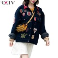 RZIV 2016 women casual tiger embroidered badge patch coat