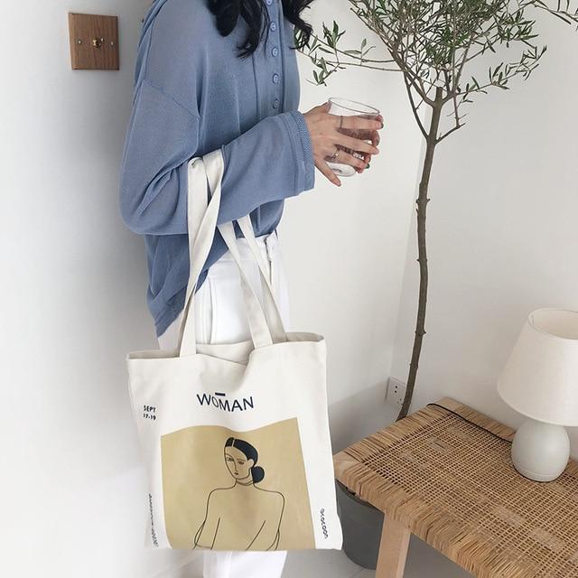 Youda Original Simple Women Bag Elegant Canvas Handbags Fashion Ladies Shoulder Bags Casual Shopping Tote Cute Girls Handbag 6
