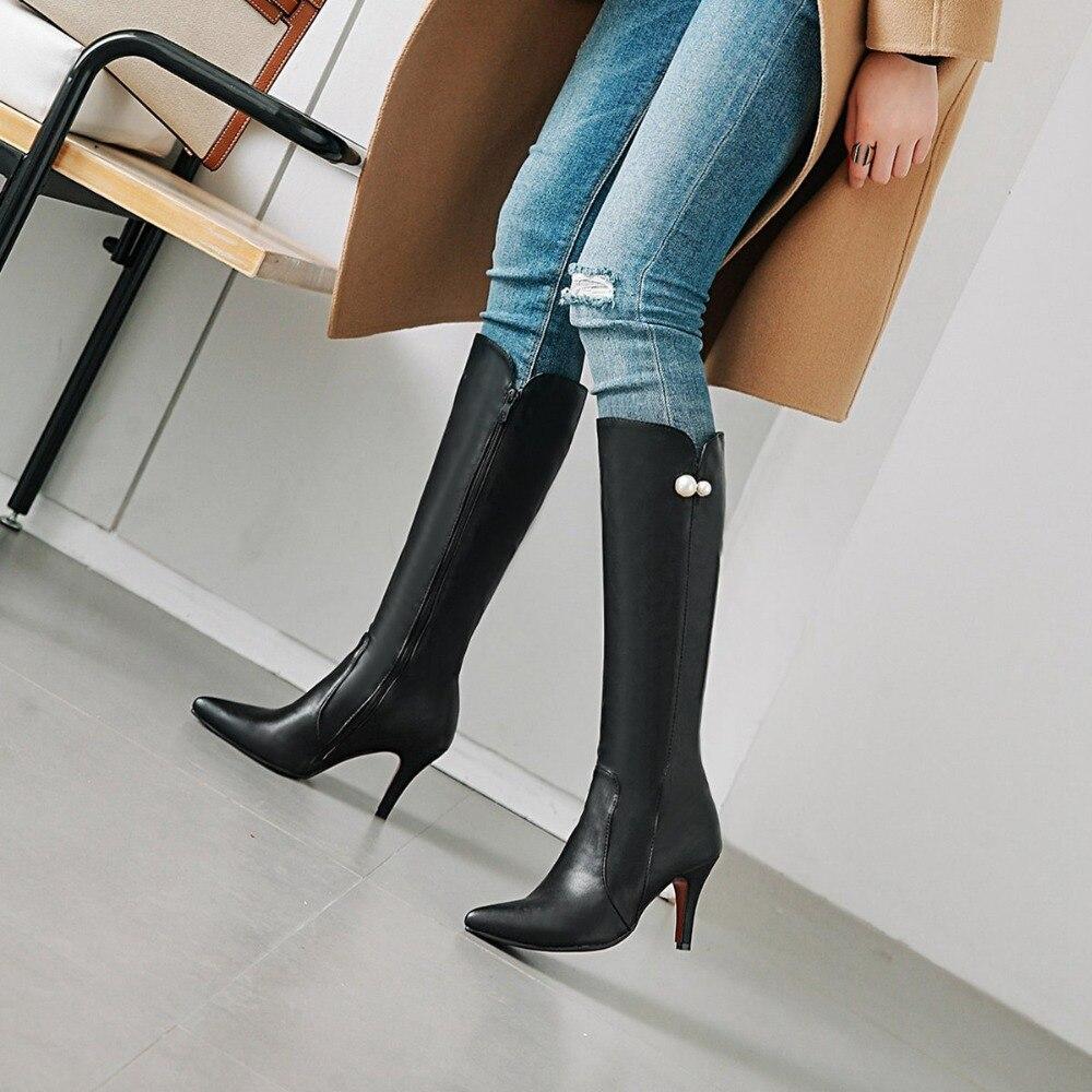 D'hiver Haute Mode Confortable Bottes Cuir Black Bout Peluche Chaud Genou En Longues De Chaussures Femmes Pointu Hiver qn1UYdUw