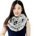 CX-S-172H Winter Fur Wraps Ring Scarves Rex Rabbit Fur Real Fur Scarf