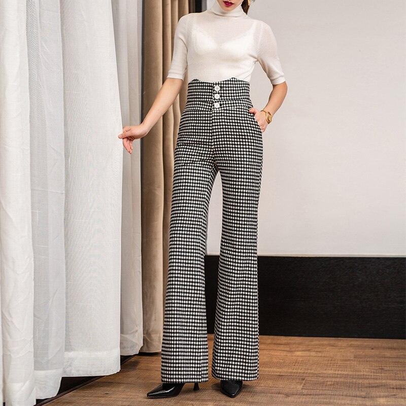 Ancha Otoño Pierna A Ropa As Mujer De 2018 Cintura Alta Invierno Cuadros E Vertical Nueva Shown Pantalones Larga Lana Streetwear EBFgcqWPP