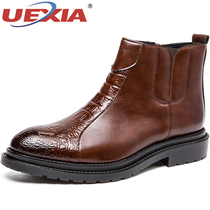 Casual Uexia Chaussures Sapato Mode Moto Cheville Hommes Masculino Black Bottes Appartements brown Oxford D'affaires Male Martin Nouvelle Robe Automne FFrwq74