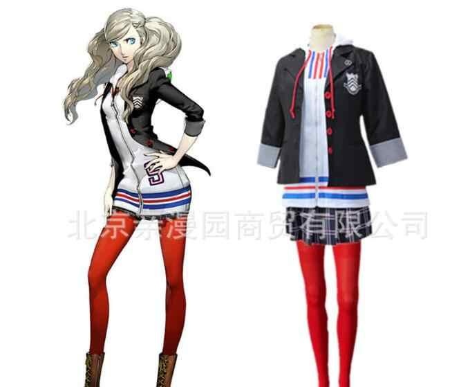 Анн такамаки Косплей Persona 5 Косплей Анны костюм, полный набор Униформа куртка рубашка юбка чулки жилет вечеринка Хэллоуин карнавал
