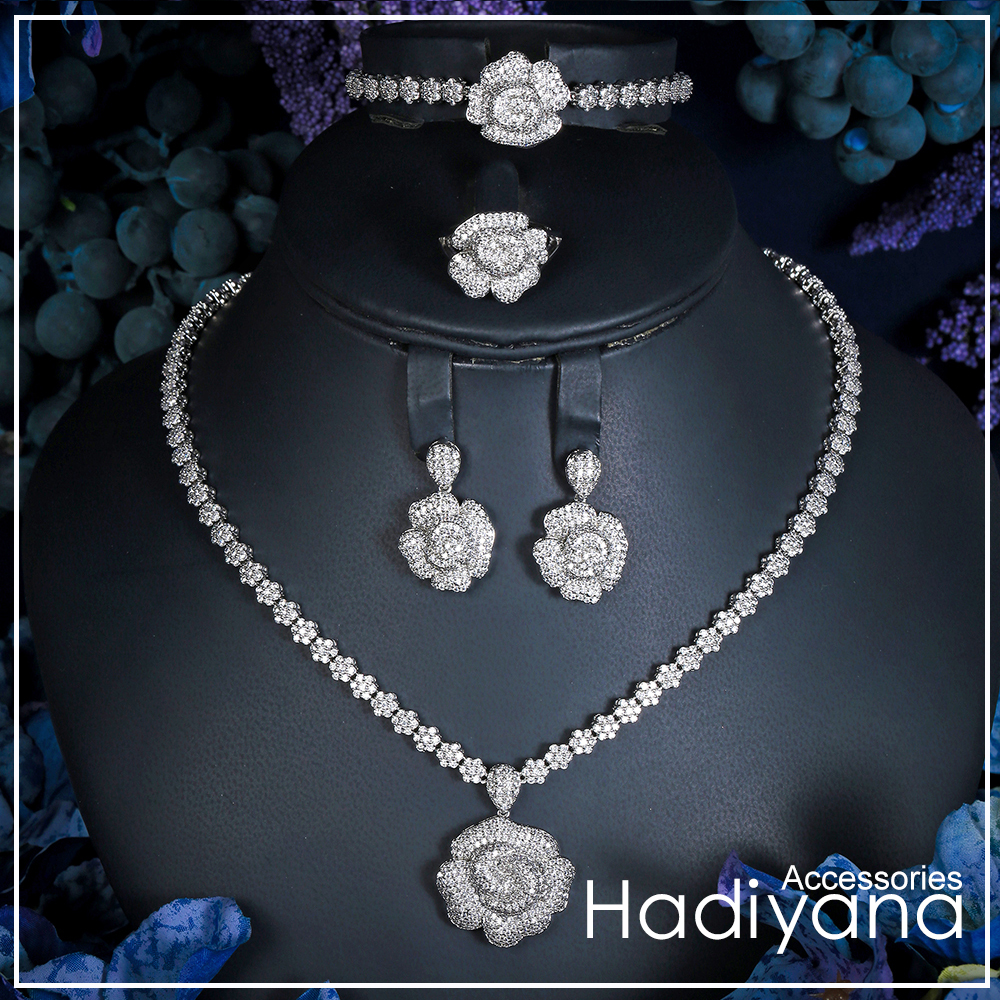 Hadiyana Luxury Bridal Wedding Jewelry Sets New Sparkling Zircon Big Rose Flower Design 4pcs Jewelry Set