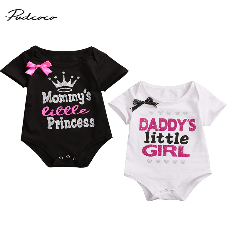 2017 Newborn Baby Girl Summer   Romper   Short Sleeve Dady Mommy's Princess Print   Rompers   Toddler Kids Jumpsuit Outfit Clothes