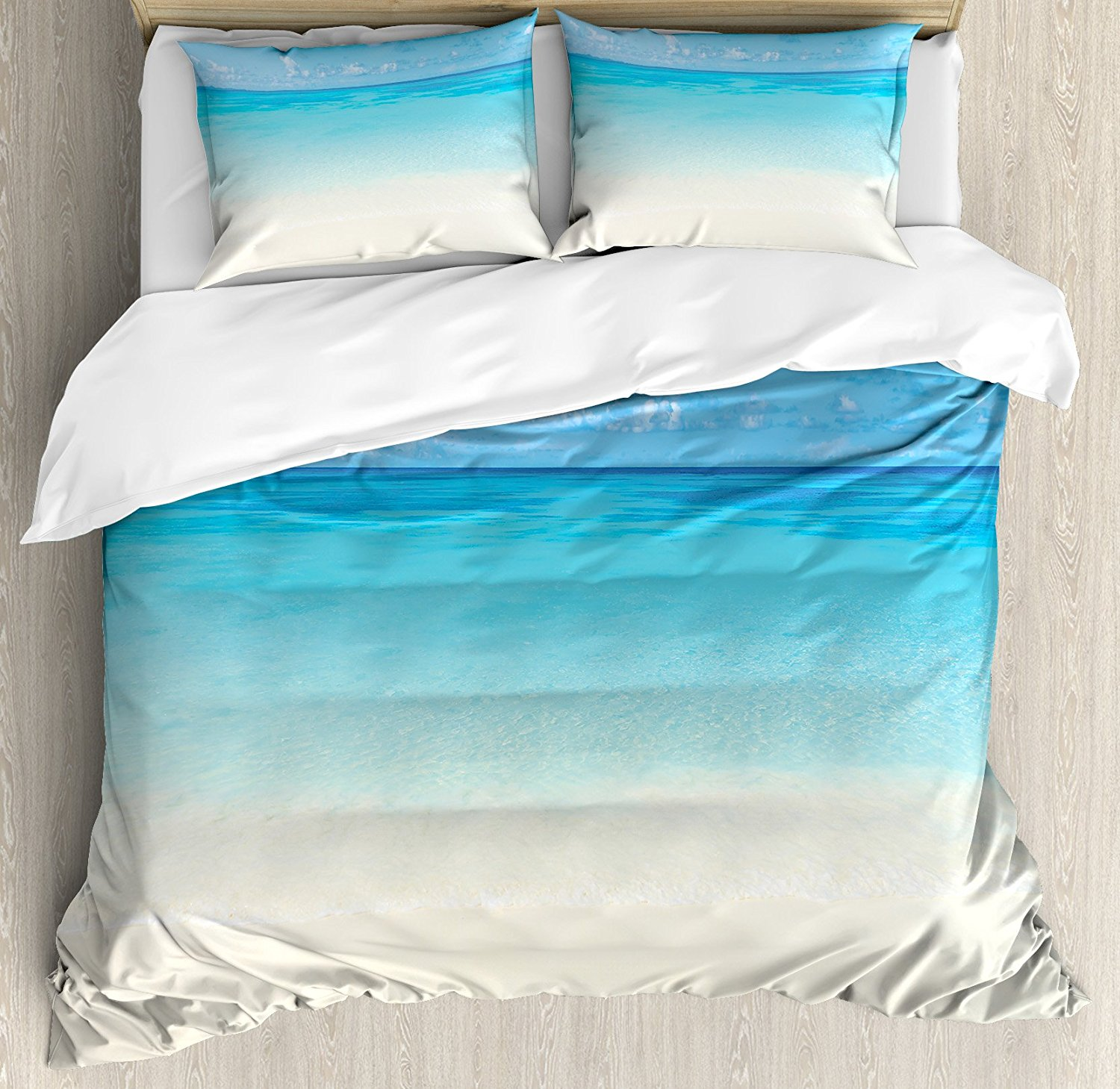 Ocean Duvet Cover Set Paradise Beach in Tropical Caribbean Sea with Fantastic Sky Calm Beach House Theme, 4 Piece Bedding Set