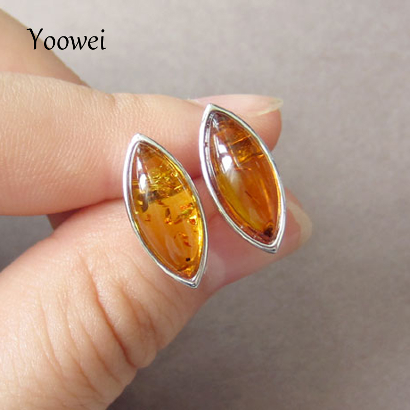 Yoowei Amber Earrings for Girl 100% Natural Cognac Color Oval Stud Earring Baltic Amber Jewelry Pendientes ambar Women kehribar