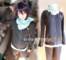 Japanese Anime Cosplay Noragami Yato Cosplay Costume Jacket Sport Suit for Women/Men (Tops + Pants + Scarf)