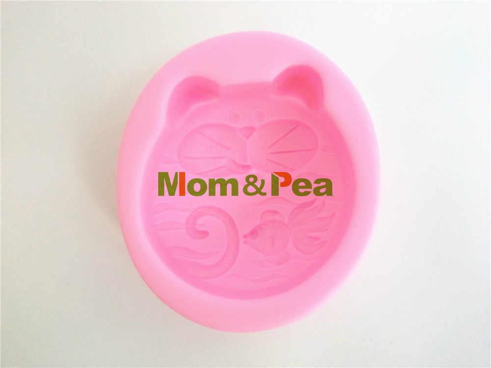 お母さん&エンドウ0337送料無料猫&魚シリコーン石鹸金型ケーキデコレーションフォンダンケーキ3d金型食品グレードシリコン金型