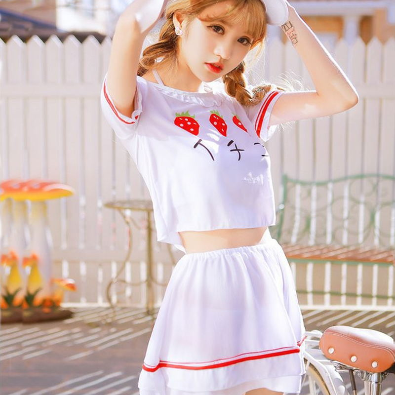 Neue Japanische Frauen Konservative Push-Up Bikinis Erdbeere Druck Vier Stück Kleid Schlank Badeanzüge Damen Nette Badeanzüge