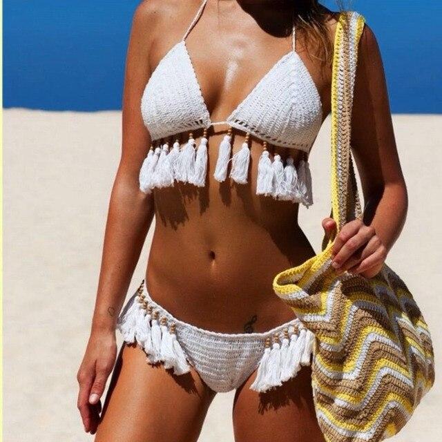 Бикини 2017 женщин sexy beach треугольник biquini кисточка купальник белый купальный костюм для женщин купальники бикини Крючком набор