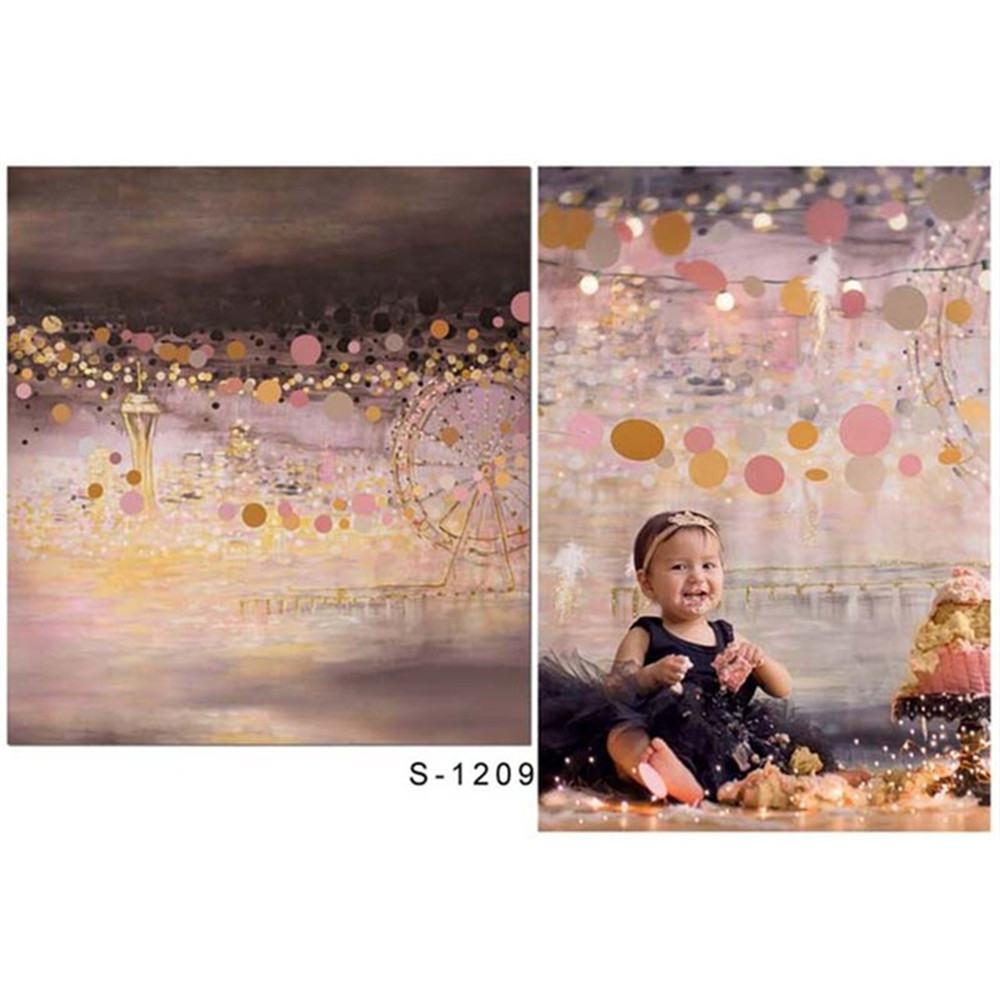 Baby Girls Birthday Party Photography Backdrop Printed Night City View Ferris Wheels Polka Dots Kids Children Photo Backgrounds