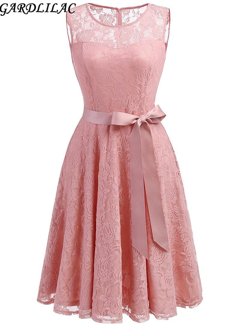 Gardlilac Dantel Kısa Nedime Dresswith sashes Kolsuz A-Line düğün Parti Elbise Diz Boyu vestidos de fiesta