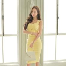 Moda mujer elegante cómodo sin espalda amarillo vestido nuevo llegada vintage casual fiesta sin mangas sexy básico salvaje lápiz vestido