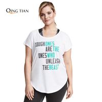 Plus Size New Fashion Women Clothing Casual Letter Print Tops Loose Short Sleeve T Shirt Big
