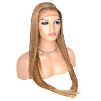 Beeos 360 150% синтетический Frontal шнурка волос Искусственные парики для женщин бесплатная часть прямой мёд блондинка Искусственные парики с
