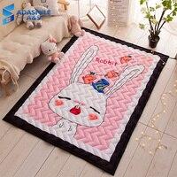 Nordic Kids Room Rug Carpet Wave Quilted Tatami Mat Area Rug Bedroom Cartoon Pink Rabbit Crawling Play Mat Living Room Carpets