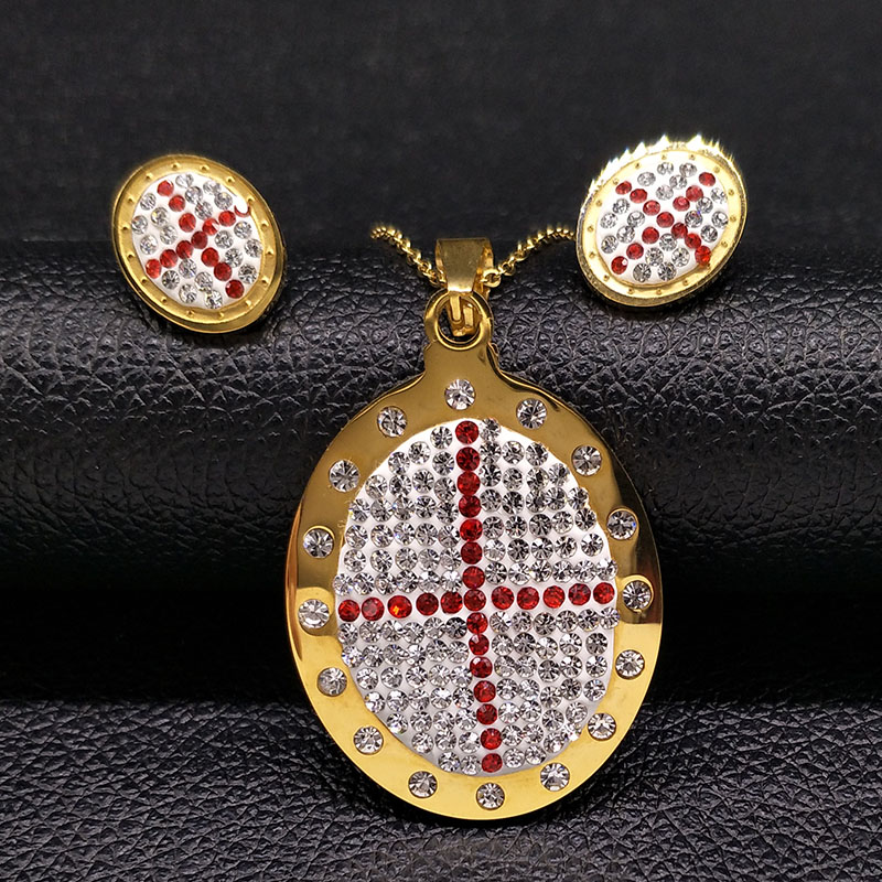 2017 Fashion Big Cross Stainless Steel Jewelry Set for Women Jewelry Gold Color Earrings ...