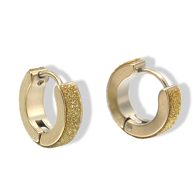 Fashion Punk Men Women Crystal Stainless Steel Gold Small Hoop Earrings Best Gift Er938