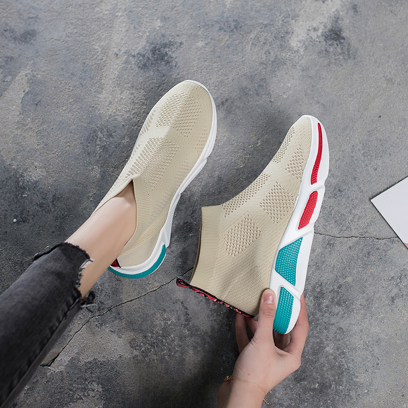 HKCP Stretch socks shoes women 39 s shoes 2019 summer loafers high top shoes knitting Korean fashion casual single shoes C027 in Women 39 s Pumps from Shoes