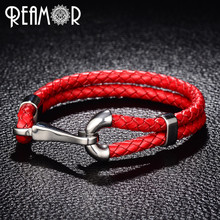REAMOR 316l Stainless steel Silver Tone Fish Hook Charms Bracelet Double Braided