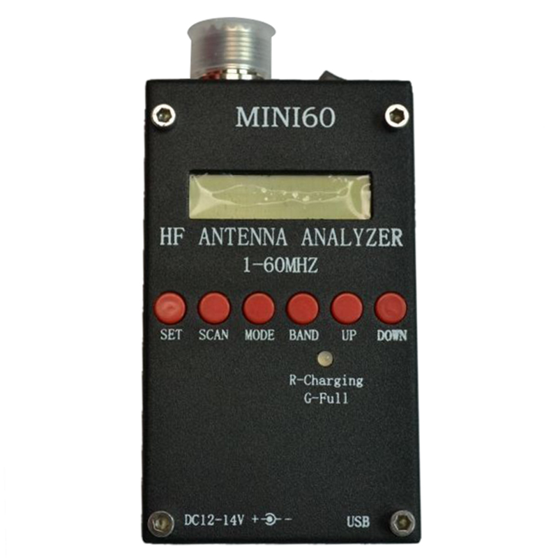 Mini60 sark100 HF ANT SWR Antenna Analyzer Meter For Ham Radio Hobbists Black mini60 antenna analyzer meter 1 60mhz sark100 ad9851 hf ant swr for ham radio hobbists hot